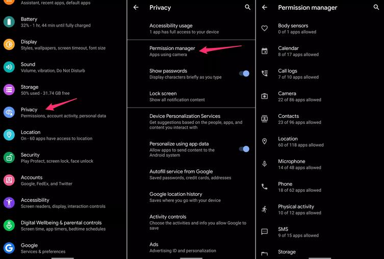 تنظیمات حریم خصوصی - بهترین ویژگی های اندروید 10