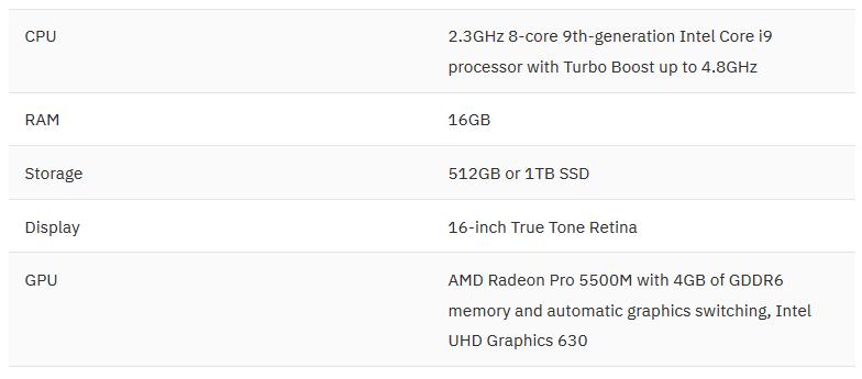 مشخصات MacBook Pro 16 inch