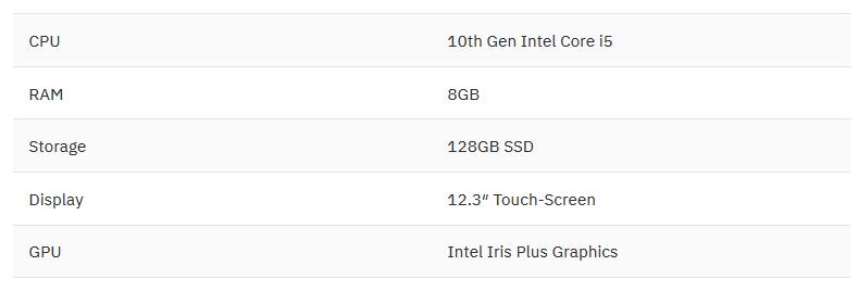 مشخصات Microsoft Surface Pro 7